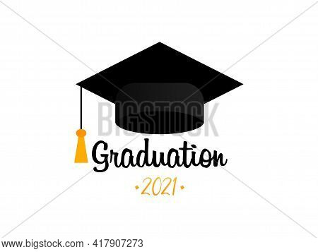 Graduation 2021. Graduation Cap. Template Design Elements. Graduation Logo. Vector Illustration