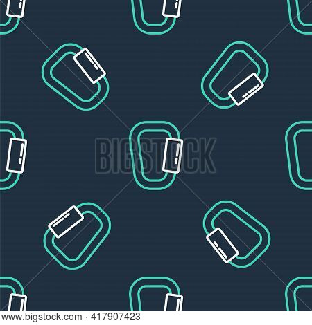 Line Carabiner Icon Isolated Seamless Pattern On Black Background. Extreme Sport. Sport Equipment. V