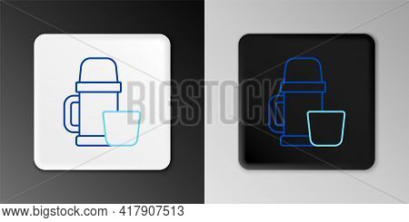 Line Thermos Container And Cup Icon Isolated On Grey Background. Thermo Flask Icon. Camping And Hiki