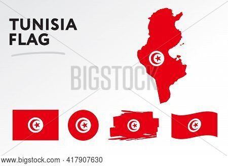 Various Designs Of The Tunisia Flag And Map. World Flags. Vector Set. Circle Icon. Brush Stroke. Tem