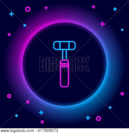 Glowing Neon Line Neurology Reflex Hammer Icon Isolated On Black Background. Colorful Outline Concep