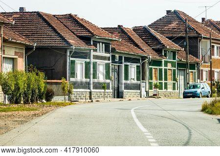 Village Asphalt Road, Suburb Houses In Bihor, Romania, 2021