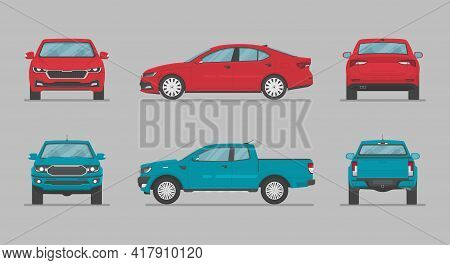 Cars From Different Sides. Side View, Front View, Back View. Cartoon Car In Flat Style.