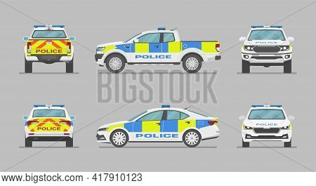 English Police Car. Side View, Front View, Back View. Cartoon Flat Illustration, Auto For Graphic An