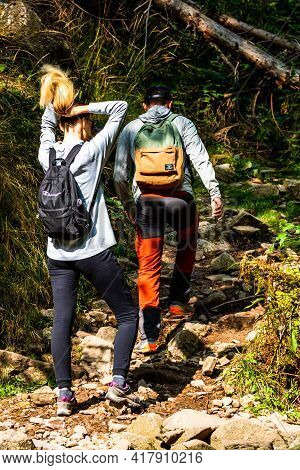 Mountains Trip, Tourist With Backpack Hiking Through Mountain Forest In Bihor, Romania, 2021