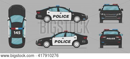 American Police Car. Side View, Front View, Back View, Top View. Cartoon Flat Illustration, Auto For