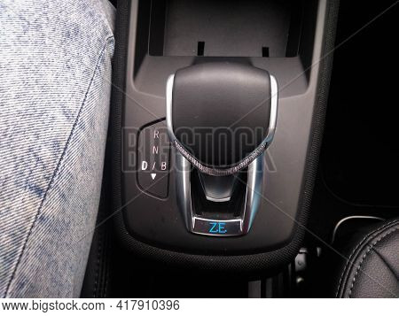 New Renault Zoe Electric Car, Automatic Gearbox. New Modern Technology, Interior Design Details. Buc