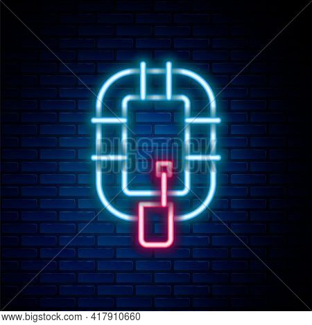Glowing Neon Line Inflatable Boat Icon Isolated On Brick Wall Background. Rafting Boat. Water Sports