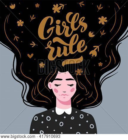Girl Rule. Vector Lettering. Girl With Long Hair With Text. Hand Drawn Long Hair Beautiful Girl. Mod