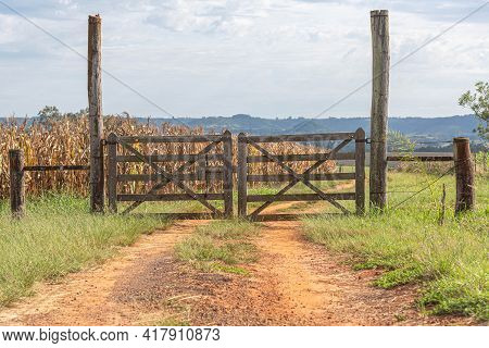 Wooden Gate Of Rural Property And In The Background A Cornfield
