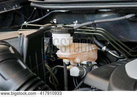 The Car Brake And Clutch Fluid Tank
