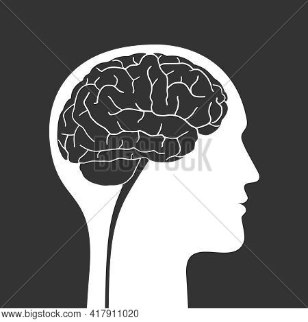 Silhouette human with brain. Profile man with brain sign isolated on black background. Reasonable man. Vector illustration