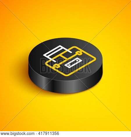 Isometric Line Case Or Box Container For Wobbler And Gear Fishing Equipment Icon Isolated On Yellow