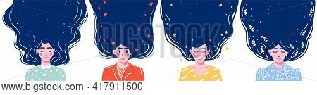 Girl With Long Hair With Space For The Text. Hand Drawn Long Hair Beautiful Girls Set. Modern Vector