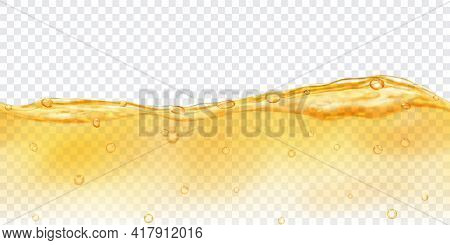 Translucent Water In Yellow Colors With Air Bubbles With Seamless Horizontal Repetition, Isolated On