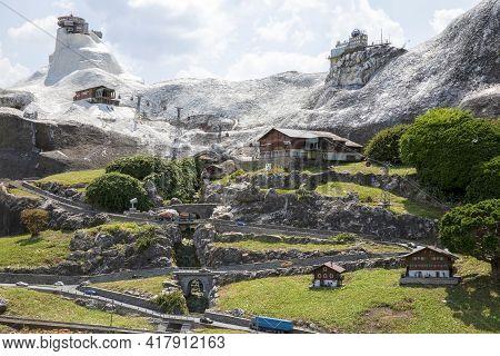Melide / Switzerland - June 21, 2020: A View Of Swissminiatur, Open-air Miniature Park Placed In Mel