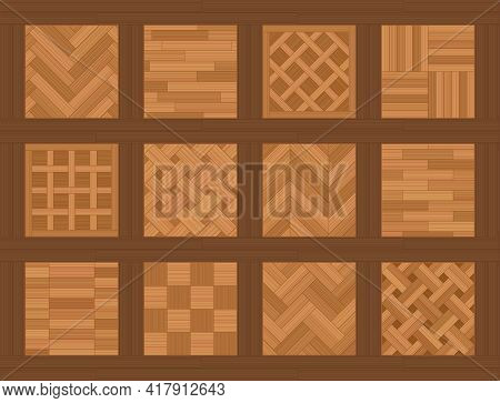 Parquet Floor Samples. Chart With Common Parquetry Patterns, Most Familiar Models And Types, Twelve