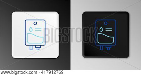 Line Iv Bag Icon Isolated On Grey Background. Blood Bag. Donate Blood Concept. The Concept Of Treatm