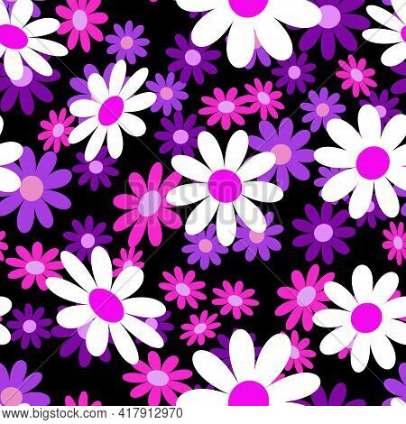 Cute Abstract Seamless Pattern With Small Colorful Chamomile Flowers On The Black Background. Summer