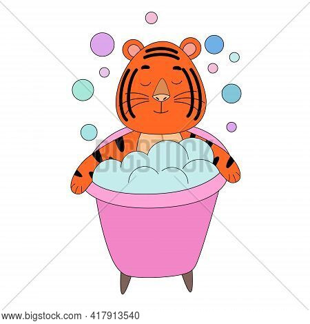 Tiger Takes A Bubble Bath, Cute Animal. The Idea Of A Character For A Greeting Card, A Children Is W