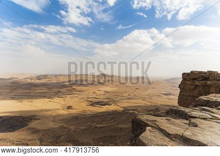 Ramon Crater Makhtesh Ramon, The Largest In The World, As Seen From The High Rocky Cliff Edge Surrou