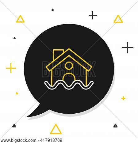 Line House Flood Icon Isolated On White Background. Home Flooding Under Water. Insurance Concept. Se