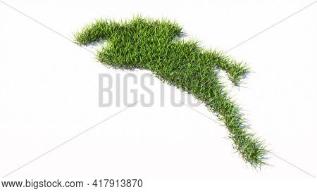 Concept or conceptual green summer lawn grass symbol shape isolated white background, sign of a horse rider. 3d illustration metaphor for sport, competition,  training, relaxation,  hobby and fun