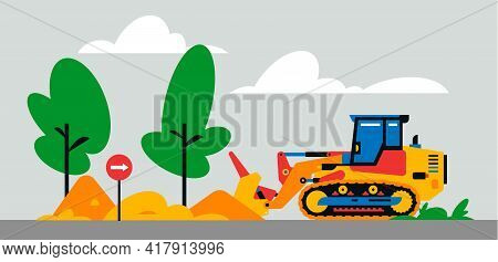 Construction Machinery Works At The Site. Construction Machinery, Bulldozer On The Background Of A L