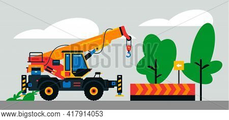 Construction Machinery Works At The Site. Construction Machinery, Truck Crane On The Background Of A