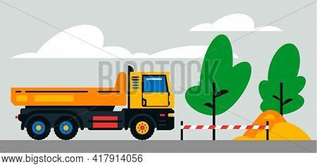 Construction Machinery Works At The Site. Construction Machinery, Truck On The Background Of A Lands