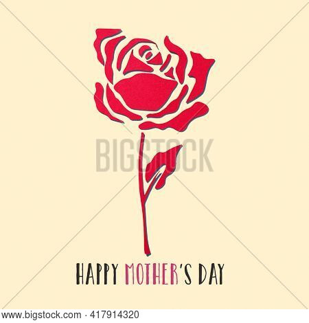 a red rose, made with cutouts of a red paper, and the text happy mothers day on a beige background