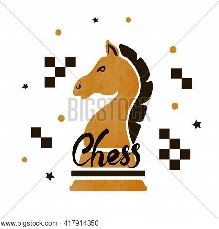 Chess Poster With Knight. Vector Illustration Of Chess Horse.