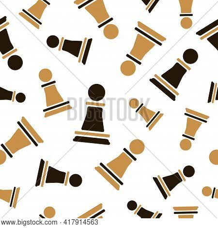 Chess Pawn Seamless Pattern. Strategy Game Background. Vector Chess Pieces Illustration.