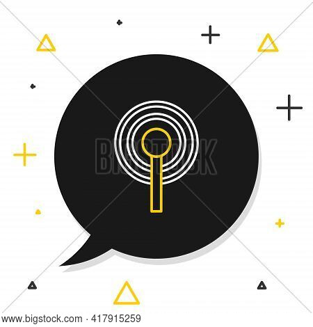 Line Antenna Icon Isolated On White Background. Radio Antenna Wireless. Technology And Network Signa