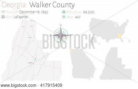 Large And Detailed Map Of Walker County In Georgia, Usa.
