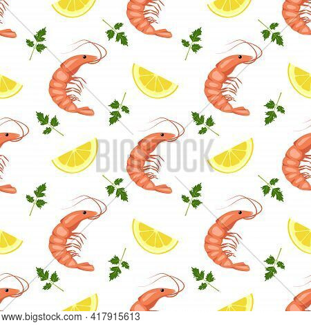 Seamless Pattern With Shrimps Or Prawns, Lemon Wedges And Parsley Leaves. Food Print For Textiles, P