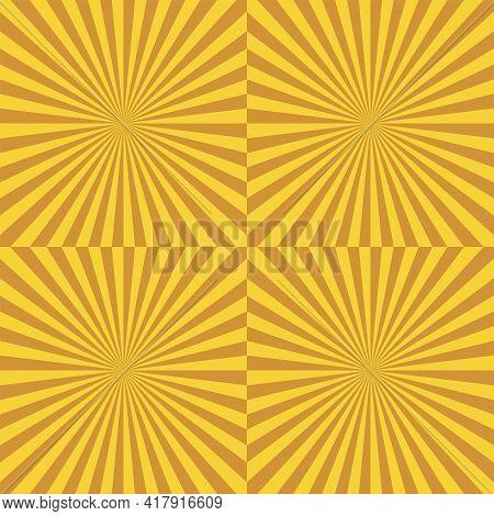 Yellow Sunburst Background. Seamless Pattern. Vector Illustration. Retro Radial Lines Poster.