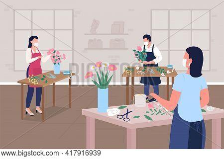Floristry Workshop During Pandemic Flat Color Vector Illustration