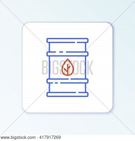 Line Bio Fuel Barrel Icon Isolated On White Background. Eco Bio And Canister. Green Environment And