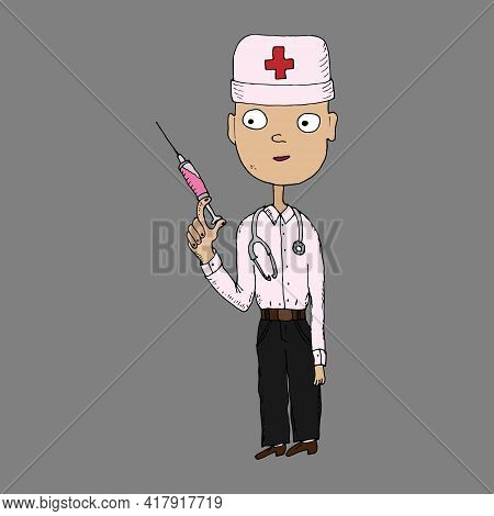 Doctor With An Injection. Vector Illustration. Isolated. Coloring Pages For Adults And Children. Car