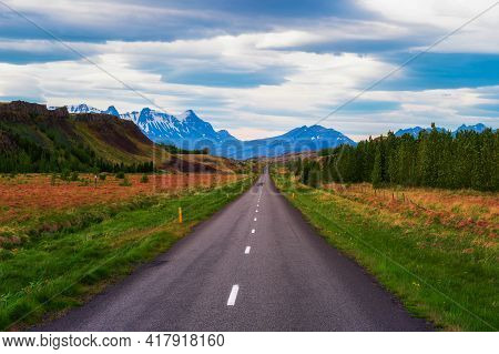 Road Going Through The Scenic Summer Landscape Of Iceland