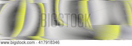 Trendy Moire Vector Abstract Web Banner With Lines In Trendy Colors Of The Year Yellow Illuminating