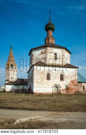 Russian old church, Orthodox Holy Cross church in Suzdal in spring, Time-worn building with crumbling plaster, Part of Golden Ring ancient towns of Russia