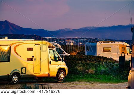 Caravan Camping On Mediterranean Coast, Beach Torrecarbonera, Punta Mala, Alcaidesa, Spain. Vacation