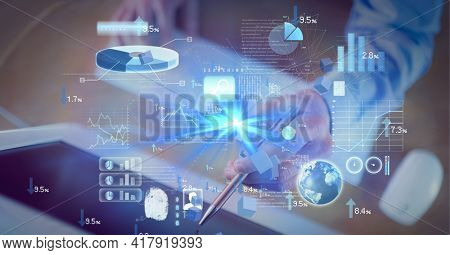 Composition of digital icons and data processing over man touching computer screen with pen. global technology and digital interface concept digitally generated image.