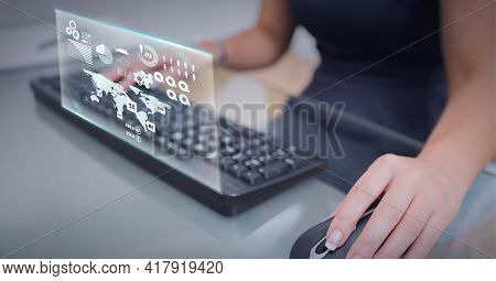 Composition of world map and digital icons on screen over woman using mouse and computer keyboard. global technology and digital interface concept digitally generated image.