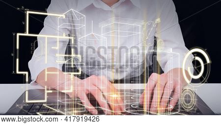 Composition of digital scopes over 3d architecture model over woman typing on computer keyboard. global technology and digital interface concept digitally generated image.