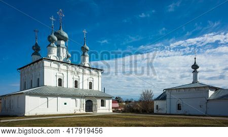 Russian heritage religious architecture, Peter and Paul Church and Church of St. Nicholas in Suzdal in spring middle april, Golden Ring of Russia