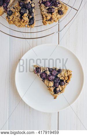 Oat Blueberry Scones On White Wooden Background. Vegan Pastry.