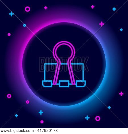 Glowing Neon Line Binder Clip Icon Isolated On Black Background. Paper Clip. Colorful Outline Concep